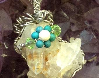 Quarz Cluster Pendant withTurquoise and Swarovski Crystal Healing Reiki
