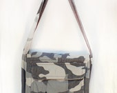 Gray Camo Upcycled Crossbody Small Messenger or Field Bag
