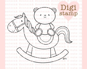 Bear and Rocking Horse Digital Stamp for Card Making, Paper Crafts, Scrapbooking, Hand Embroidery, Invitations, Stickers, Coloring Pages