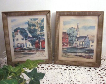 2 vintage Louis Victor mid century framed lithos. Village houses, church. Gallery Wall artwork. Rustic frames. Country Cottage Farmhouse art
