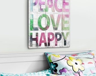 Peace Love Happy - Slatted Wood Art Sign Home Wall Decor Watercolor Colorful Typography
