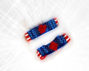 Set 2 Bow Hair Clips or Shoe Clips, First Day School Picture Pins, Patriotic Americana American Fashion, Independence Picnic, Summer Holiday