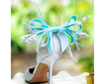 Wedding Shoe Clips Aqua Blue & White Anemone Plumes Bow. French Christian Louboutin Inspired, Sophisticated Statement Bridesmaid Extravagant