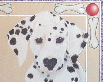 Dalmatian Puppy Dog Drawing- Whimsical Original Pencil Art- 17 x 17 inch- Framed Under Glass