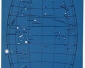 1946 astronomy star map original vintage celestial print - map 6 - orion taurus aries perseus sirius pleiacespisces lepus auriga