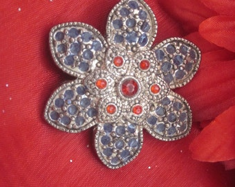 VINTAGE FLORAL BROOCH  Perfect Red and Marcasite