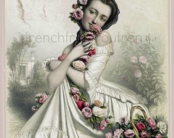 antique french beauty illustration la femme aux roses lithograph DIGITAL DOWNLOAD