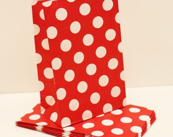 """Paper Bags, 12 Large RED Dot Paper Bags, """"Stand UP"""" Party Favor Bags, Party, Birthday Party Favors, Candy Bags,  Christmas Party Treat Bags"""