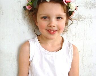 Girl flower crown, flower girl headband, rose hair accessory, flower girl