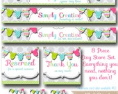 PreMade Etsy Banner Set - Clothesline- Simple & Custom! Facebook Timeline Cover and Business Cards Available Too!