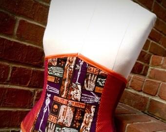 Punk Goth Different Halloween Themed Under Bust Corset Orange Purple Fishnet Velvet Scary Bones