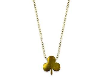 Tiny Clover Necklace - Lucky Clover Necklace - Simple Modern Brass Necklace