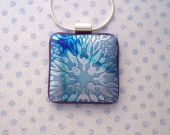 Dichroic Glass Pendant - Heavenly Blue and Silver Dichroic Glass Jewelry - Fused Glass Jewelry -97-14