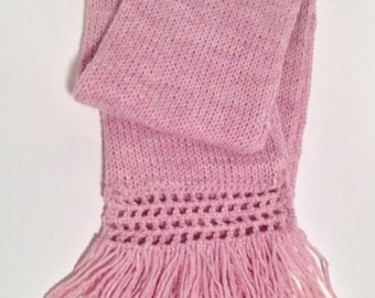 Ladies Fringed Scarf / Hand Knitted / Wool Blend / Extra Warm