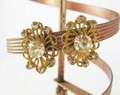 Gold and Diamond Earrings, Gold Rhinestone Earrings, Gold Filigree Earrings, Gold Screw Back Earrings, Great Gatsby Earrings, Fancy Earrings