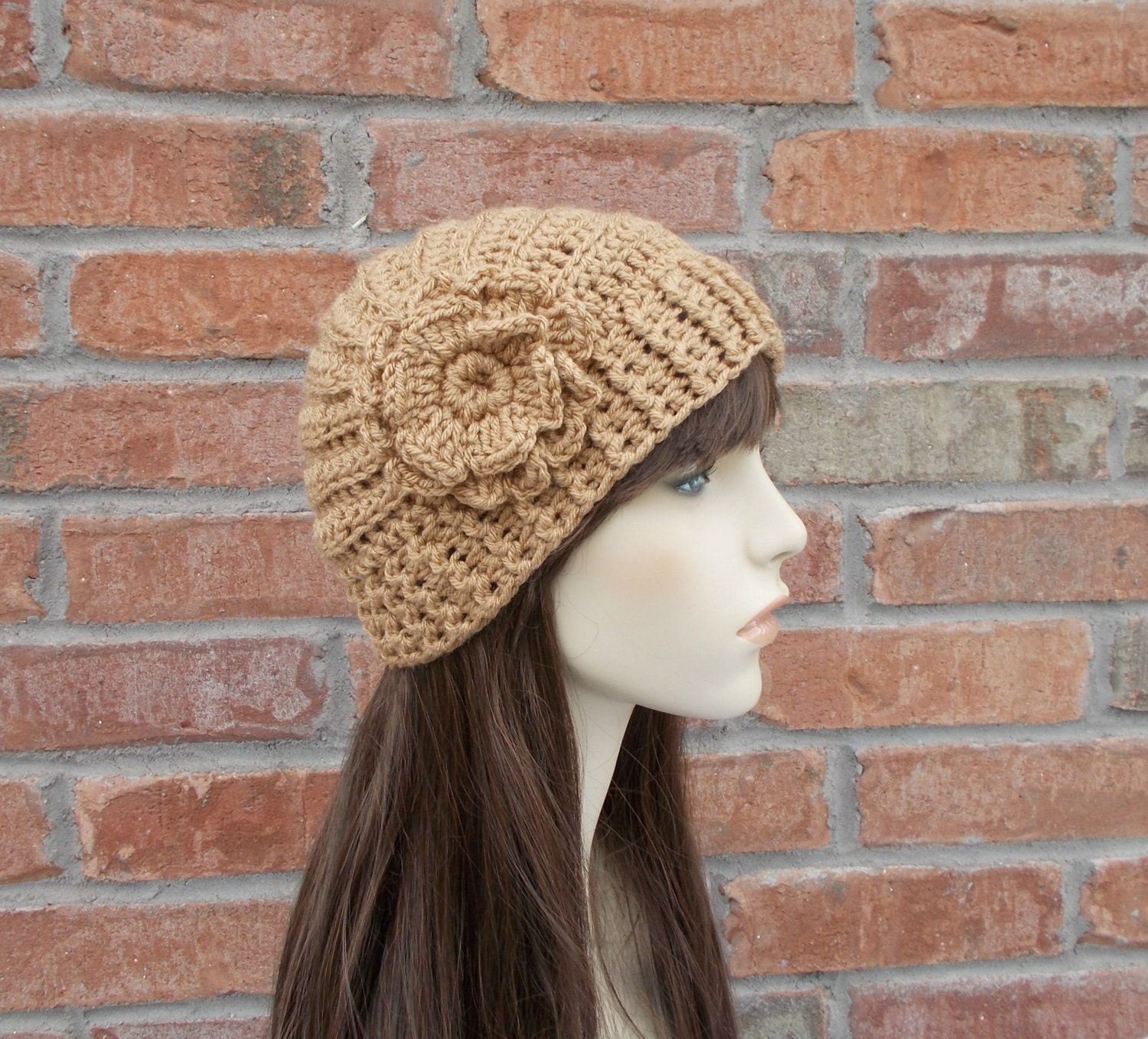 Womens Hats Taupe Crochet Hat With Flower Unique Hat With Side