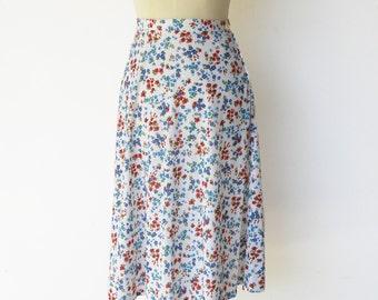 Vintage Floral Skirt / 70s Skirt / Size S