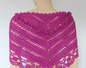 SALE 40% OFF  only this month Magenta Triangle Crochet  Scarf - Crochet  Shawl - Neck Warmer - Bandana