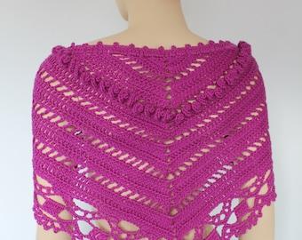 Magenta Triangle Crochet  Scarf - Crochet  Shawl - Neck Warmer - Bandana