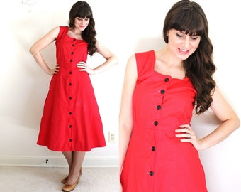 1940s Dress / 40s Dress / 1940s Red Pinafore Dress