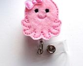 Pink Octopus - Retractable ID Badge Reel - MD Badge Holder - Cute Badge Reel - Nurse Badge Holder - Nursing Badge Clip - Teacher Badge