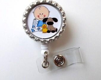 Baby Boy - Name Badge Holder - Nurse Badge Clip - Nursing Badge - NICU Badge Reel - Labor and Delivery Nurse Badge - RN Badge - PICU