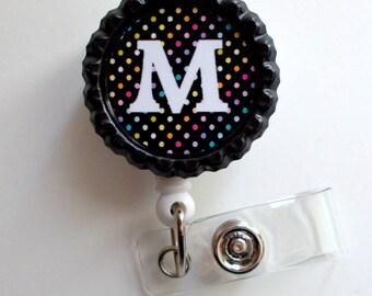 Personalized Black Polka Dot - Name Badge Holder - Personalized Badge Clip - Fun Badge Reel - Nurse Badge Pull - Teacher Badge - SLP - MD