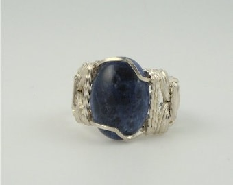 RI-1119 Blue Lapis Lazuli Gemstone Cabochon Handmade Ring Wire Wrapped With Sterling Silver Wire