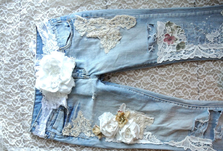 A Sale Embellished Jeans Boho Lace Jeans Custom Jeans Shabby