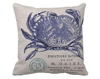 Pillow Cover Beach Decor Navy Crab