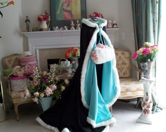 Beauty and the Beast Bridal cape Aqua Blue / Black Satin 67 inch with Fur Trim Wedding Cloak Handmade in USA