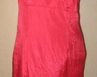 Vtg 70s Red Satin Ruffled One Shoulder Cut Out Goddess Disco Mini Dress S M