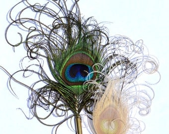 Peacock Feather Boutonniere with Bullet Casings - Elegant Simplicity