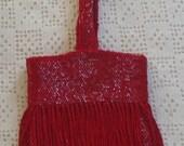 Vintage Flapper Purse Red Beaded Fringe