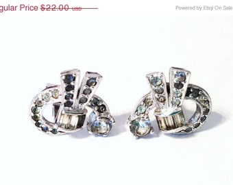 Vintage Rhinestone Statement Silver Clip On Earrings 1950s 1960s Mad Men Retro Jewelry Chic - Wedding Bride Prom Gift Sale