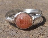 A Grade Strawberry Lepidocrocite Quartz Wire Wrapped Gemstone Ring