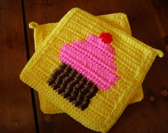 Pink Cupcake Potholders With Cherry On Top, Yellow Crochet Potholders,  Kitchen Decor, Hot Pads, Trivet Set of Two Pot Holders MADE TO ORDER