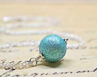 Aqua Glitter Necklace, Seafoam Mint Green Sparkly Bead, Vintage Beaded Pendant on Sterling Silver, Minimalist Jewelry