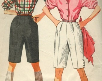 Simplicity 4746 / Vintage 1950s Sewing Pattern //  Blouse And Shorts  // Size 13
