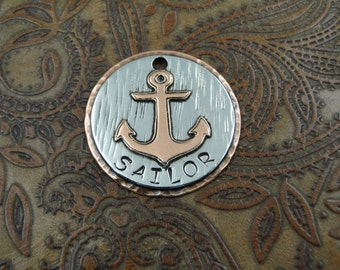 Anchor Custom ID Dog Tag, Personalized Dog Tag, Pet Tag, Custom Handmade Tag