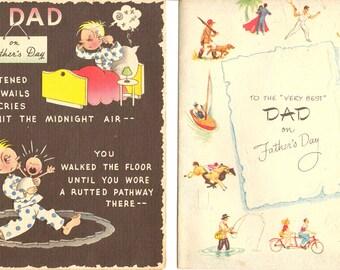 1940s Father's Day Cards Set of 2 Vintage Nostalgic War Era Daddy Greeting Stationary Collection Mid Century Ephemera Retro Dad Comic Prints