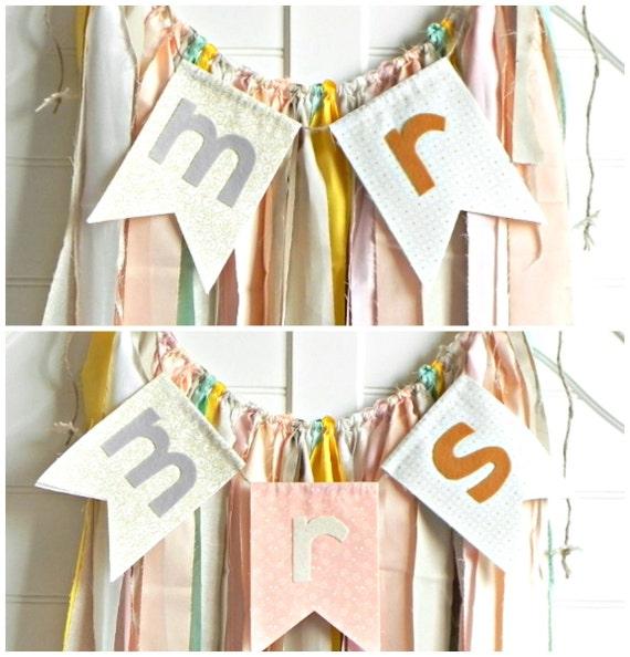 Pastel Wedding / Mr Mrs Sign / Ribbon Garland / Mr and Mrs Chair Sign / Bohemian Wedding Decor / Wedding Backdrop Curtain