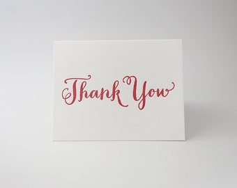 Individual Letterpress Card - Thank You - Coral