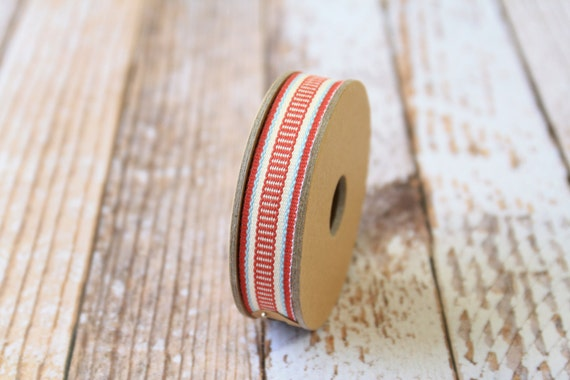 Red LADDER STITCH fabric woven cotton blend ribbon