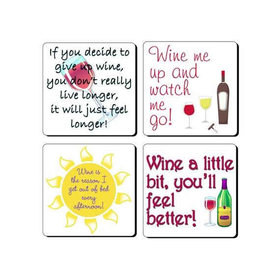 Lustige Wein Sprüche Bierdeckel Set von 4 tolle