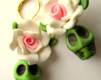 Day of the dead earrings, white and pink flower and green skull, Halloween Jewelry, Dia de los muertos