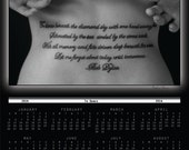 2014 Calendar, 3 colors available, tattoo, Dylan song, fine art photography, Black and White art, female form, joyful message