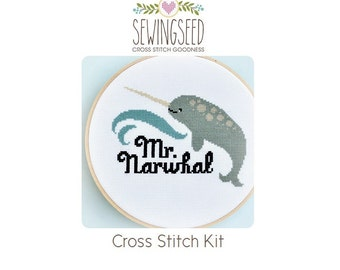 Narwhal Cross Stitch Kit, DIY Kit, Nautical Embroidery Kit