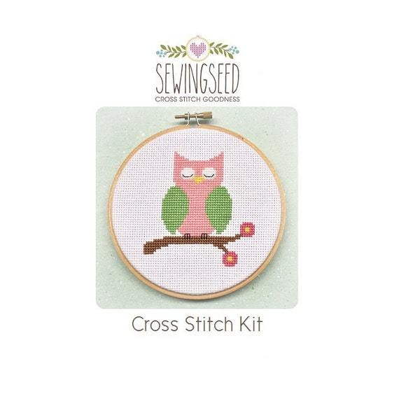 Owl Cross Stitch Kit, Pink and Green Owl, Embroidery Kit, DIY Kit, Nursery
