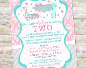 Tutus and Ties Birthday Bash, Tutus and Ties Party, Tutus and Ties Invite, Tutu Invitation, Girl Birthday Invite, Printable Invite, DIY